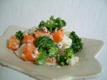 小かぶ、ニンジン、ブロッコリーの温野菜サラダが宙に浮いている感じ